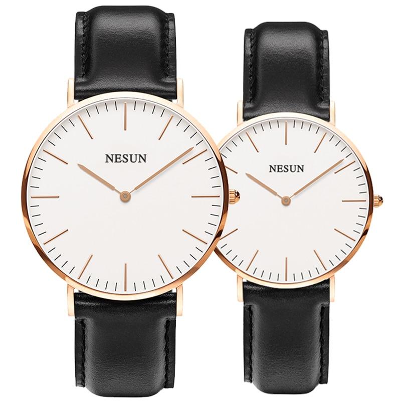 Switzerland Nesun Watch Men & Women Luxury Brand Japan MIYOTA Quartz Movement Lover's Watches Genuine Leather Clock N8801-LL1
