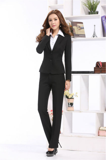 825c45c3234 Newest Elegant Fashion Women Formal Suits Blazer   Pants For Business Women  Professional Long Sleeve Spring Autumn Career Sets