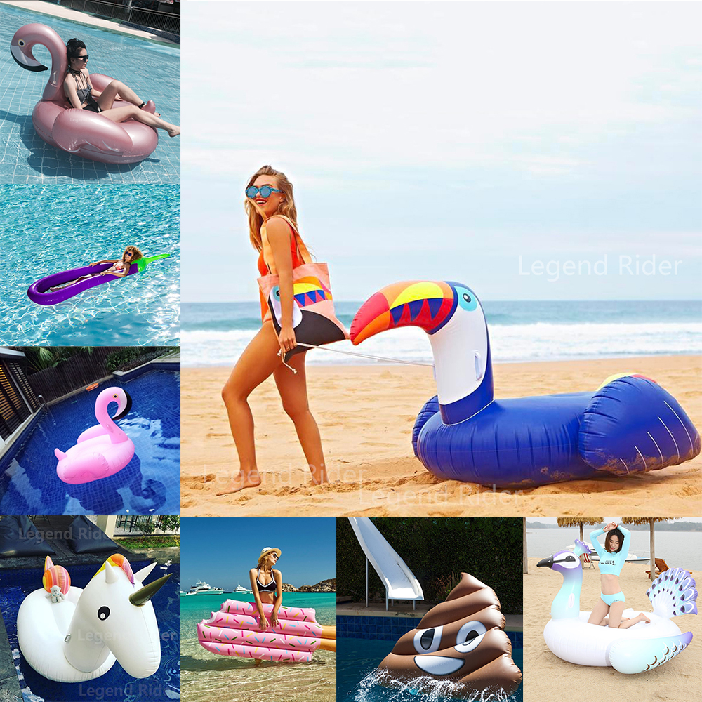 25 Style Swimming Pool Inflatable Island Inflatable Flamingo Unicorn Pool Float Ring Water Sports Air Mattress Boia Beach Toys