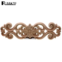 RUNBAZEF Floral Wood Carved Wooden Figurines Crafts Appliques Frame Wall Door Furniture Woodcarving Decorative Home Accessories