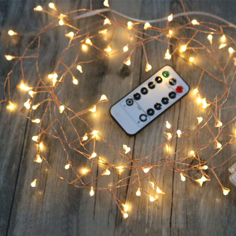 Remote Control Cluster String Lights Bedroom Wedding Table Party Led Decoration Lights Copper Wire Fairy Christmas Tree Lights Led String Aliexpress