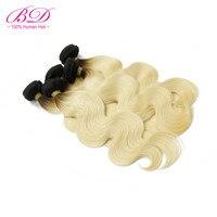 BD HAIR 1B/613 Body Wave Human Hair Bundles 3pc/lot Dark Root Ombre Blonde Peruvian Remy Hair Bundles Deal