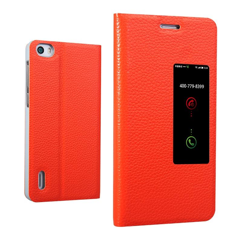 Цена за 4 цвет Честь 6 смарт Настоящее Футляр Из Натуральной Кожи мода люкс флип стенд натуральной кожи телефон Обложка для Huawei Honor6 окно просмотра