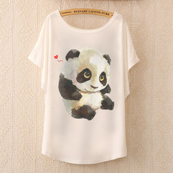 New 2017 Hot Retro Cool Punk T-shirt Women Top Fashion Tee The lovely panda print Batwing Sleeve T shirt women tops