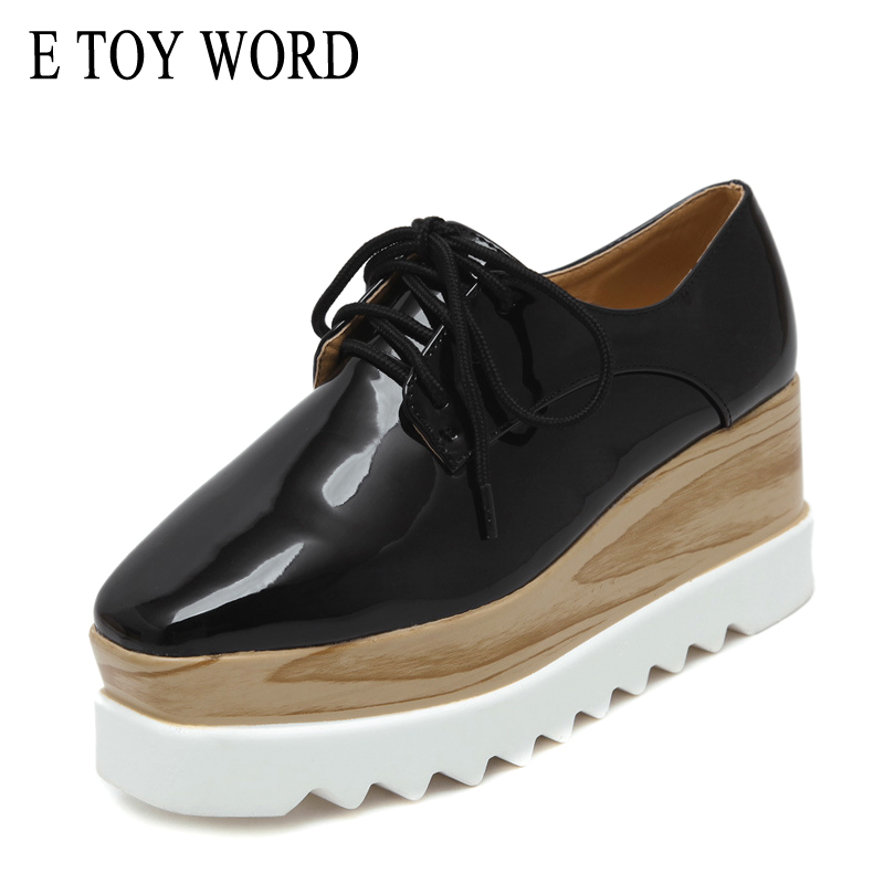 E TOY WORD Luxury Brand Women Platform Oxfords Flats Shoes Patent Leather Lace-Up Square toe Beige Black Creepers Women shoes 2017 women genuine leather brogue flats shoes patent leather lace up pointed toe luxury brand red blue black pink creepers