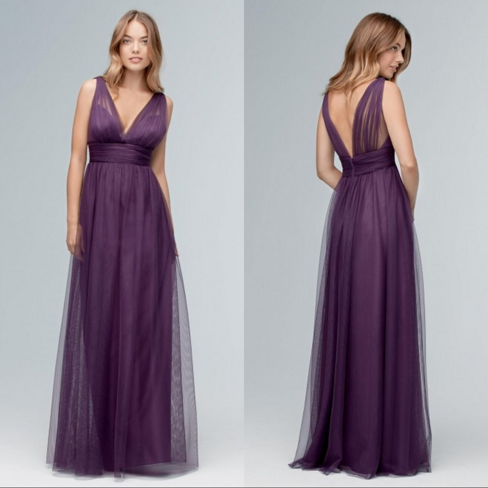 Deep purple bridesmaids dresses reviews online shopping deep deep v neck purple bridesmaid dresses a line sleeveless long floor length custom made tulle maid of honor dresses ombrellifo Image collections