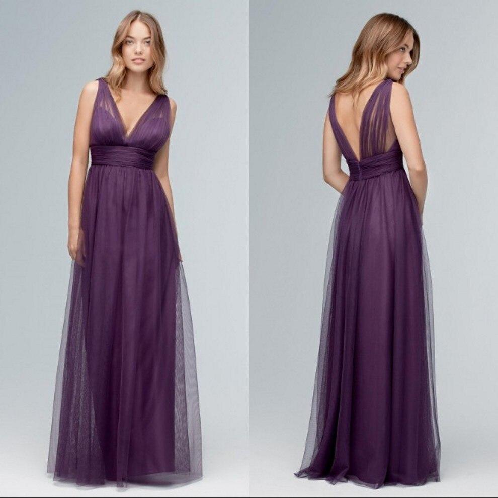 Online get cheap a line purple v neck dress aliexpress deep v neck purple bridesmaid dresses a line sleeveless long floor length custom made tulle maid ombrellifo Gallery