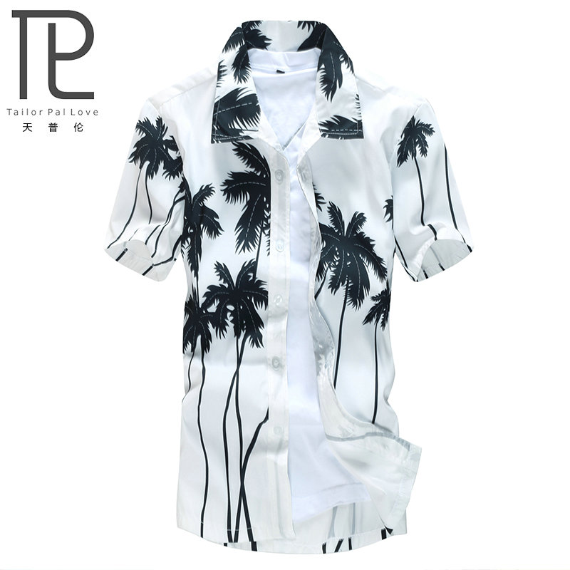 Hot Style Märke Sommar Hawaiian Mäns Hawaii Beach Shirt, Chemise Homme Coconut Palm Prints Lös Casual Shirts Asian Size L-4XL