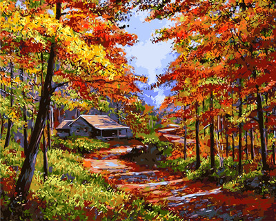 Sans cadre paysage d 39 automne peinture diy par les kits de nombres dessin peinture par num ros - Paysage d automne dessin ...