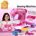 Minitudou simulación muebles miniaturas de plástico máquina de coser set chica kids toys pretend play puede hacer ropa de la muñeca
