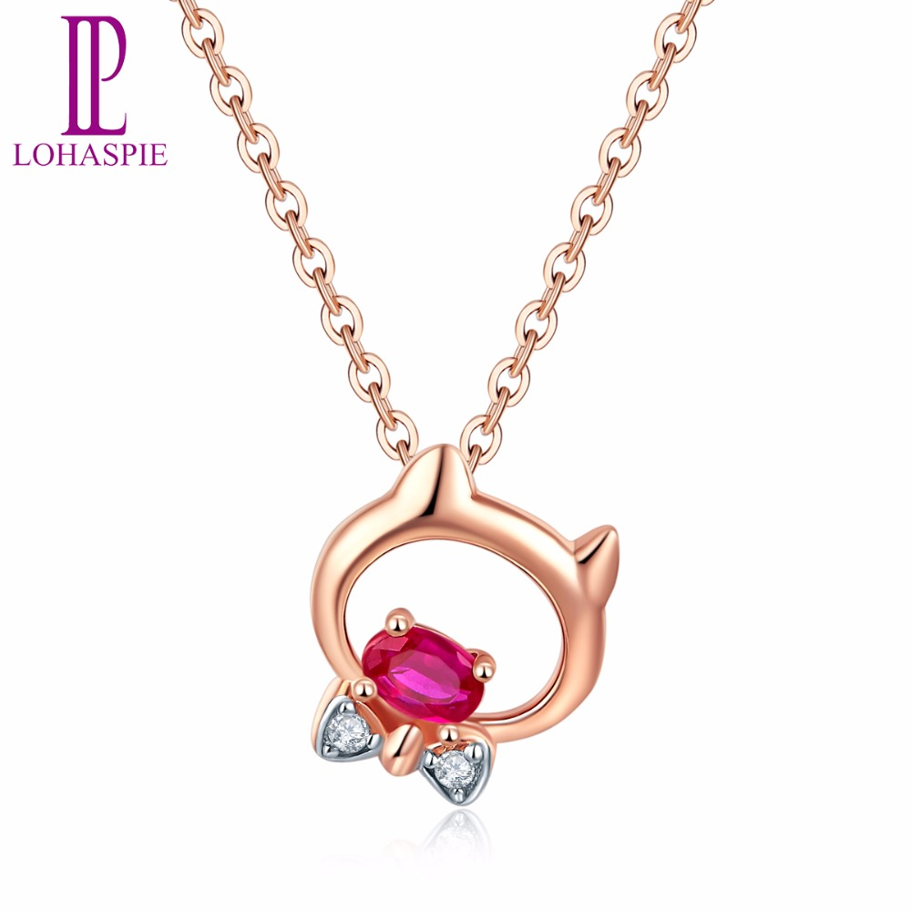 Lohaspie Stone Jewelry Solid 18K Rose Gold Natural Gemstone Ruby Tiny Sweet Cat Pendant For July Birthday Gift W/ Silver Chain yoursfs dangle earrings with long chain austria crystal jewelry gift 18k rose gold plated