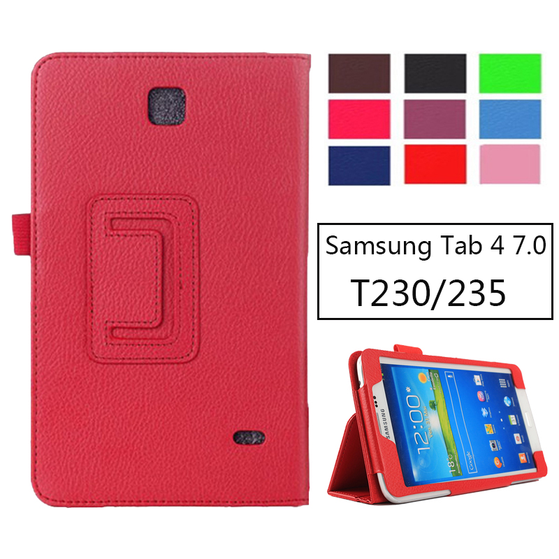 SM-T231 SM-T230 Litchi PU Leather Flip Case Cover For Samsung Galaxy Tab 4 7.0 T230 T231 T235 Stand Cases 7 inch Tablet cartoon painted flip silicon leather case for samsung galaxy tab 4 7 0 t230 t231 t235 sm t230 case cover tablet funda shell