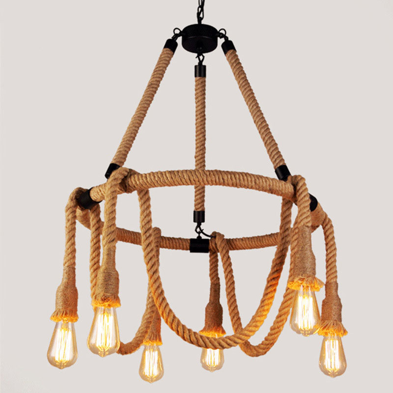 Industrial Hanging Rope Pendant Light Creative Vintage Ceiling Droplamp For Restaurant Cafe Bar Loft Restaurant Clothes Shop loft style vintage pendant lamp iron industrial retro pendant lamps restaurant bar counter hanging chandeliers cafe room