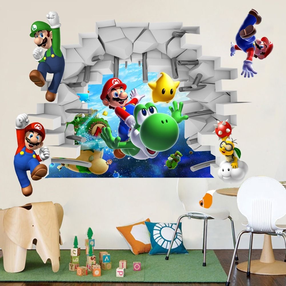 Mario Bros Muurstickers.Kids Nursery Super Mario Bros 3d View Art Muurstickers Decals Mural
