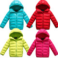 Autumn and winter children duck down jacket kids candy color short design hooded jacket coat boys and girls thick warm outerwear