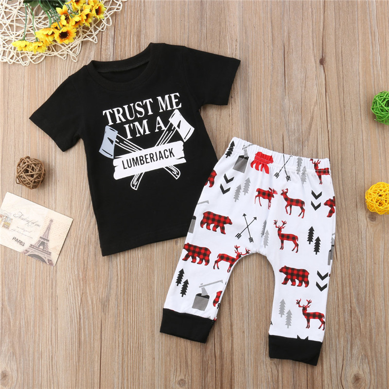 071b0a20a pudcoco Newborn Toddler Baby Boy Xmax Clothes sets lumberjack letter cute  Tee T shirt Deer Print Pants 2Pcs Outfit Clothing Set-in Clothing Sets from  Mother ...