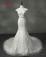 Jark Tozr New Arrive V Neck Cap Sleeve Appliques Lace Crystal Bridal Ivory Mermaid Wedding