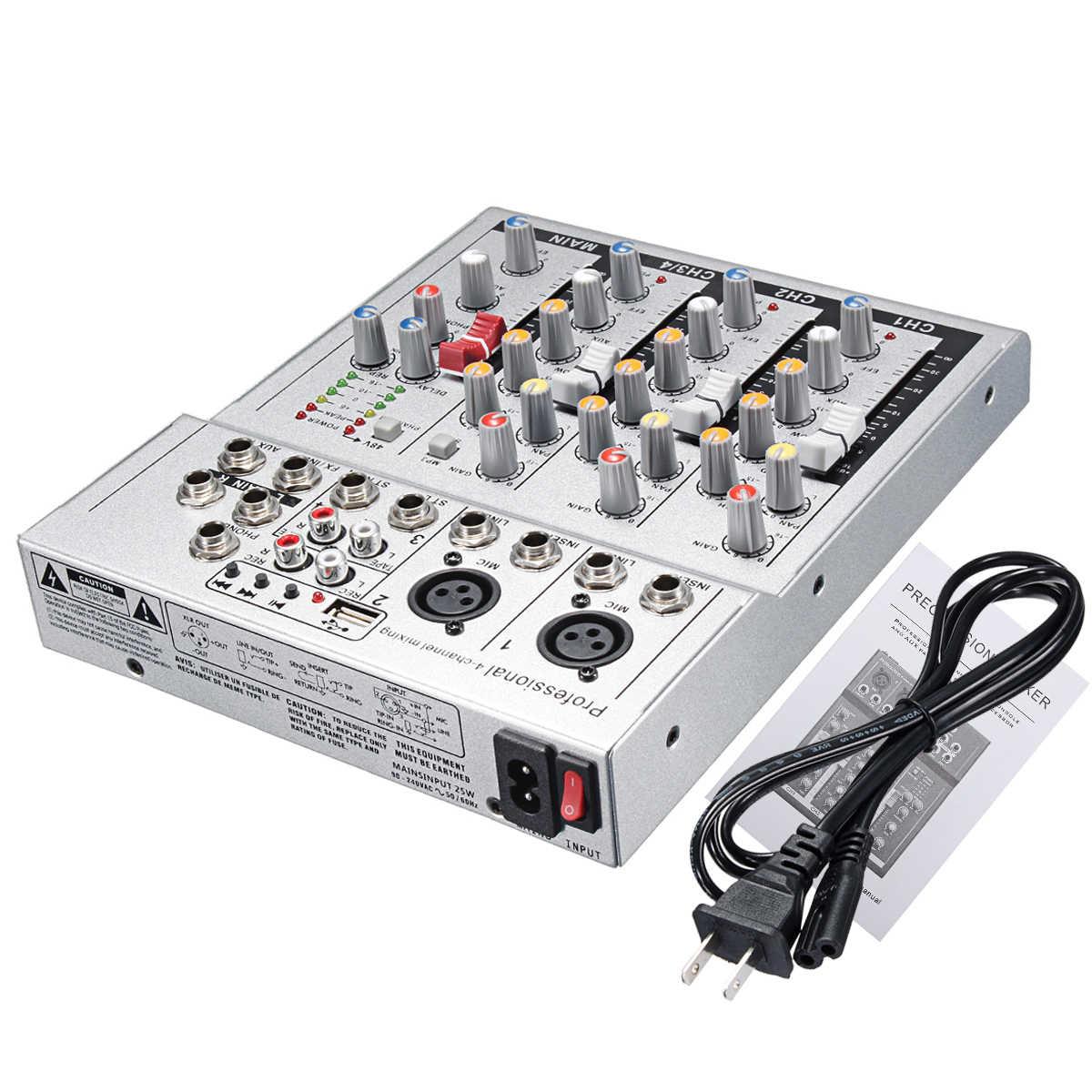 4 канала Professional Live Mixing Studio Audio Sound Console черный/серебристый DJ микшер консоли сетевой звуковой карты для семьи KTV