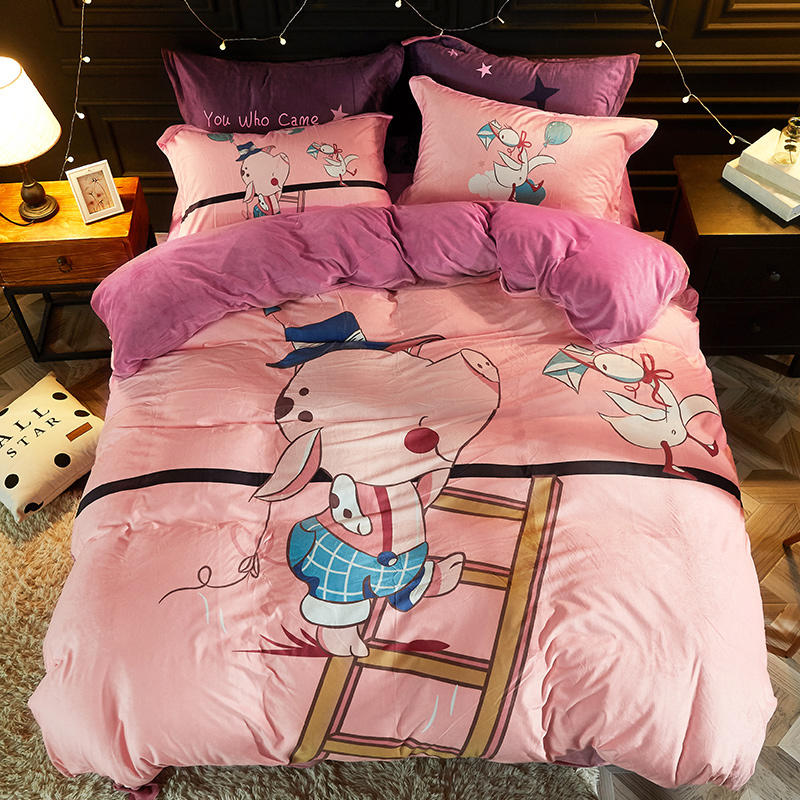 Bedding Set Crystal Velvet Luxury Bed Linen Twin Queen Size Pink Pig Duvet Cover Set Pillowcase Warm Bed Sheet 3stylesBedding Set Crystal Velvet Luxury Bed Linen Twin Queen Size Pink Pig Duvet Cover Set Pillowcase Warm Bed Sheet 3styles