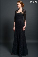 Formal party gown hot sexy vestido de festa robe soiree 2014 new black lace evening elegant Dress with jacket free shipping