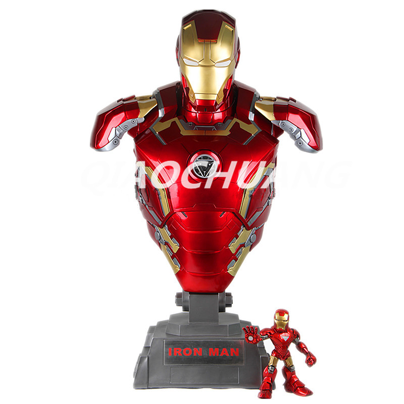 Statue Avengers Superhero Iron Man 1:1 Bust MK43 Tony stark Half-Length Photo Or Portrait With Light Resin Figure Model Toy W108 statue avengers captain america 3 civil war iron man tony stark 1 2 bust mk33 half length photo or portrait with led light w216