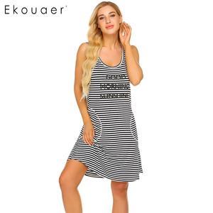 Image 3 - Ekouaer Women Striped Nightdress Summer Nightgown O Neck Sleeveless Letters Printed Stripes Loose Night Dress Female Sleepwear
