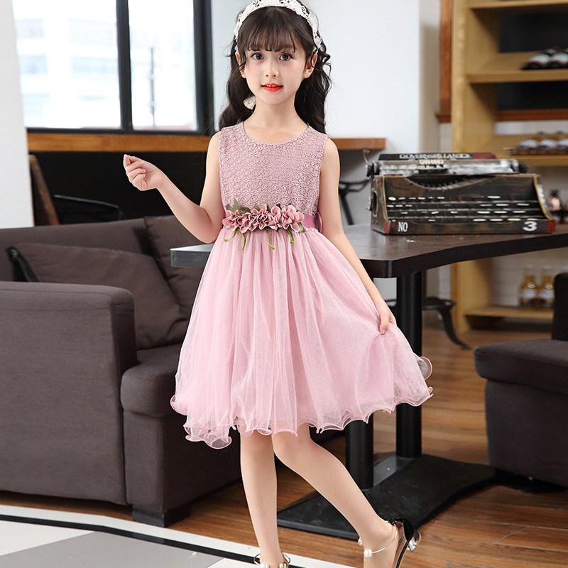 3 4 5 6 7 8 9 10 11 12 Year Girls Dress Summer Style 2018 New Flower Sweet Children Princess Dress Sleeveless Mesh Kids Clothes kids 2017 new summer big flower chiffon girl dress sleeveless solid color dress 3 4 5 6 7 8 9 10 11 12 years baby girl clothes