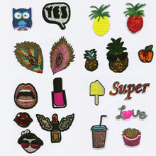 Sequined Fruit Drink Patch Embroidered Patches For Clothing Iron-On For Close Shoes Bags Badges Embroidery food vegetable patch embroidered patches for clothing iron on for close shoes bags badges embroidery