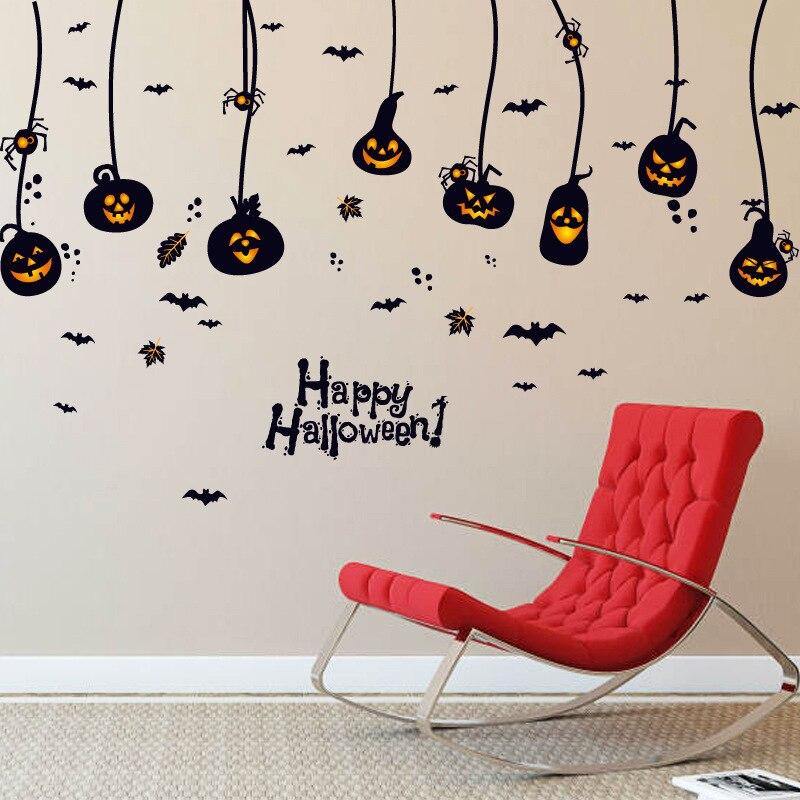 Pumpkin Light Lamp Spider Bat Wall Stickers Halloween Window Glass Decor Wall Poster Wallpaper Festival Home Decor Wall Applique