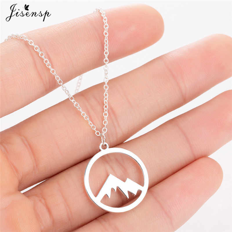 Jisensp Fashion Snow Mountain Necklace Minimalist Jewelry Mountain Range Jewellery Nature Hiker Climbing Lover Gifts Collier