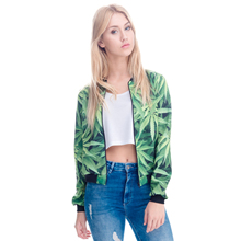 Zohra New Arrival 3D Print Weed Abrigos Mujer Jacket Casual Bomber Short Jackets Slim Brand 3d Jacket Autumn Feminino Outwear