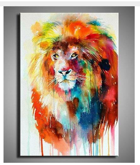 100% dipinto a mano famosi dipinti colorati animali leone cervo cane ...