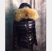 2017 winter women fashion oversized Real fur collar down jacket 90% duck thicker warm short down jacket coat with belt T626