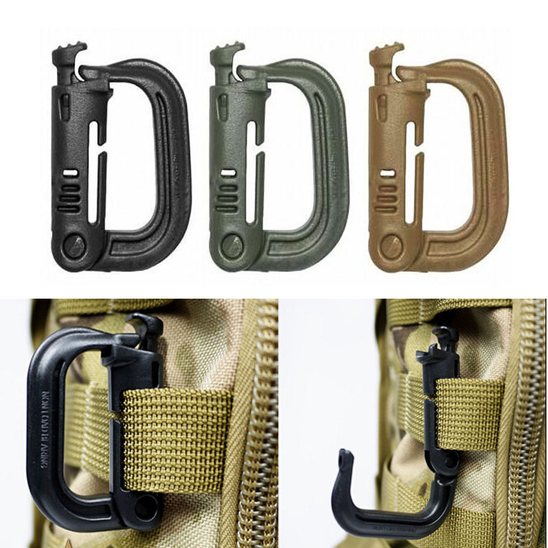 5pcs D shape Outdoor Tactical Plastic Carabiners Backpack Bag Webbing Connecting Buckle Clip Military Backpack Accessory F7-18
