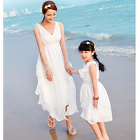 Family Look Summer Style Matching Mother Daughter Dresses Clothes Girl Dress Vestidos Dress Flower Family Clothing