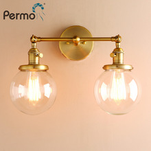 """Permo, современные настенные светильники для спальни, лестничная настенная лампа, бра 5,"""", круглые стеклянные двойные Шаровые Головки, винтажное Внутреннее освещение"""