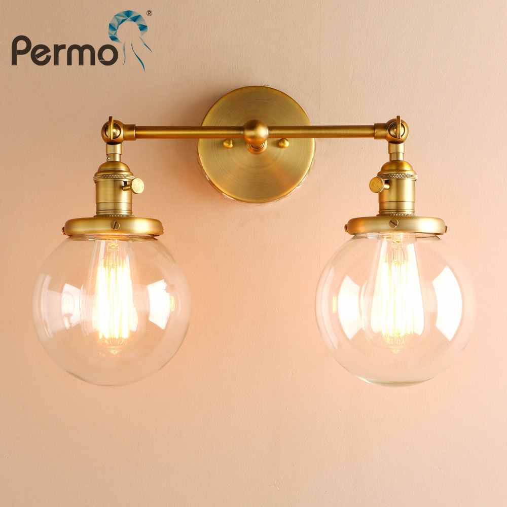 Us 50 18 32 Off Permo Modern Bedroom Wall Lights Stair Wall Lamp Sconce 5 9 Globe Glass Double Ball Heads Vintage Indoor Lighting Fixtures In Wall