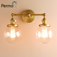 Permo Modern Loft Wall Lights Wall Lamp Sconce 5.9'' Globe Glass Lamp Shade Double Ball Heads Vintage Bedside Lighting Fixtures