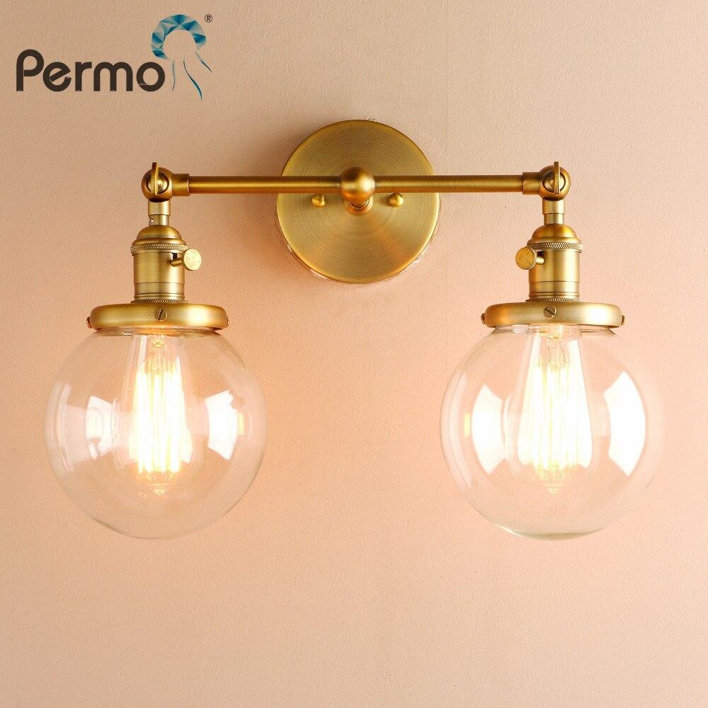 Permo Moderne Chambre Appliques Murales Escalier Lampe Applique 5.9 ''Globe En Verre Billes Double Chefs Vintage Éclairage Intérieur Appareils