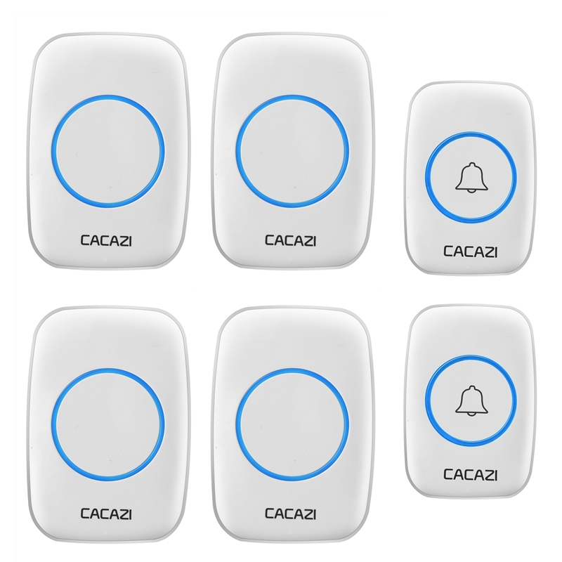 CACAZI AC 100-240V wireless doorbell 2 waterproof transmitters+4 receiverS 300M remote door bell home 38 chimes door ring new saful waterproof electric wireless door bell 220v 28 ring bell doorbell button 2out transmitters 4 doorbells receivers