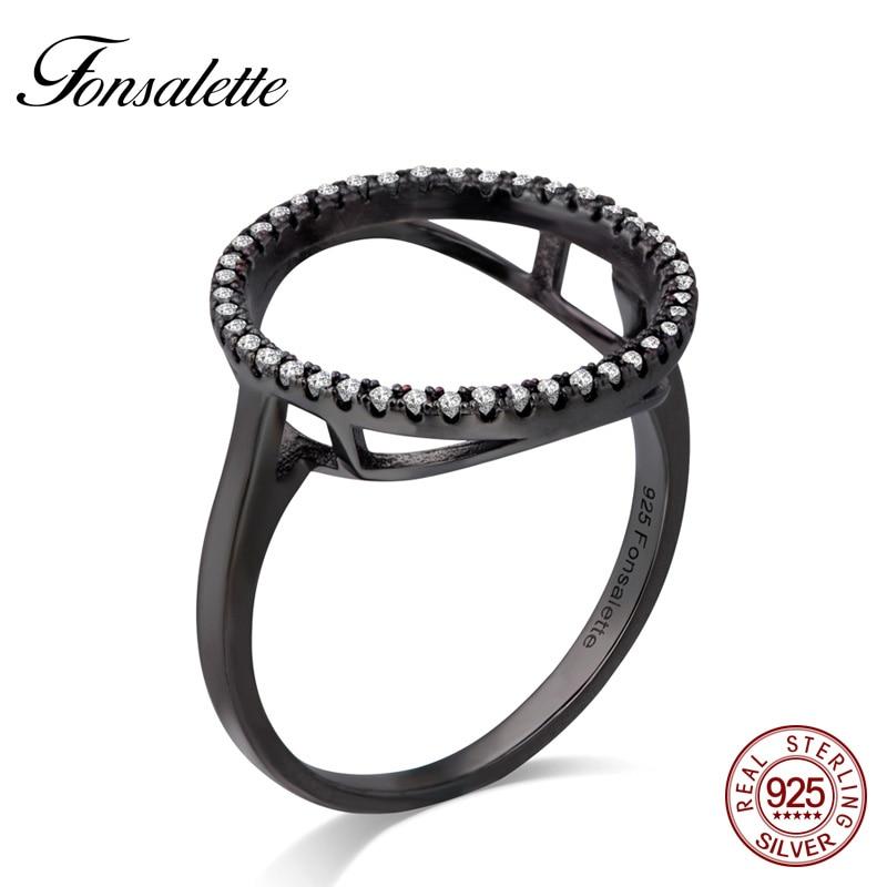Fashion Sterling Silver Halo Ring Black Karma Cz Circle