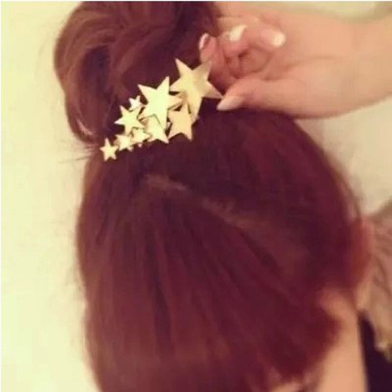 1 PCS Star Hair Clip Barrettes Hairpin Bobby Pin Jewelry Hair Accessories for Women Lady Girls Gold/ Silver color halloween party zombie skull skeleton hand bone claw hairpin punk hair clip for women girl hair accessories headwear 1 pcs