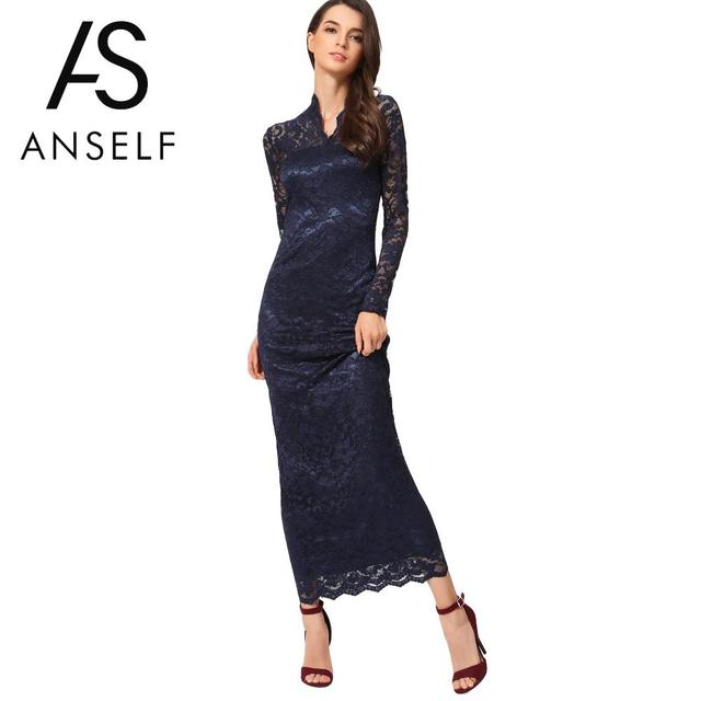 dc4d00adde2 2019 Hot Elegant Ladies Lace Dress Women Maxi Dress Long Sleeve Wedding Party  Dresses female Slim