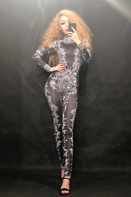 Femmes Célébrer Blanc Costume Cristaux Body Fleurs D'anniversaire Impression Discothèque D'étape Mousseux Sexy Noir Usage Salopette r1xqAnrSz