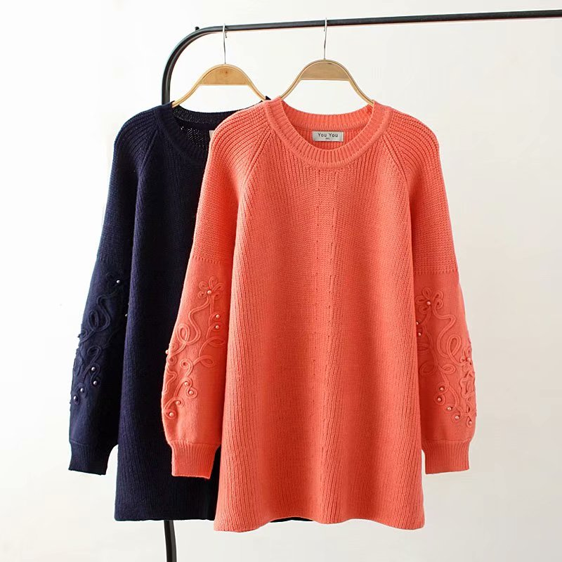 Plus size autumn winter O Neck flare sleeve women Knitted pullovers 2018 casual solid color beading