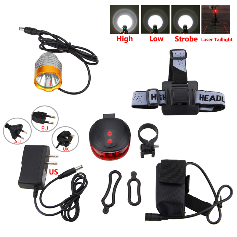 1800 LM Front Handlebar Bicycle Light XM-L T6 LED Headlamp 3 Modes Bike Lamp+Battery Pack+Charger+Headband+Red Laser Taillight cree xm l t6 bicycle light 6000lumens bike light 7modes torch zoomable led flashlight 18650 battery charger bicycle clip