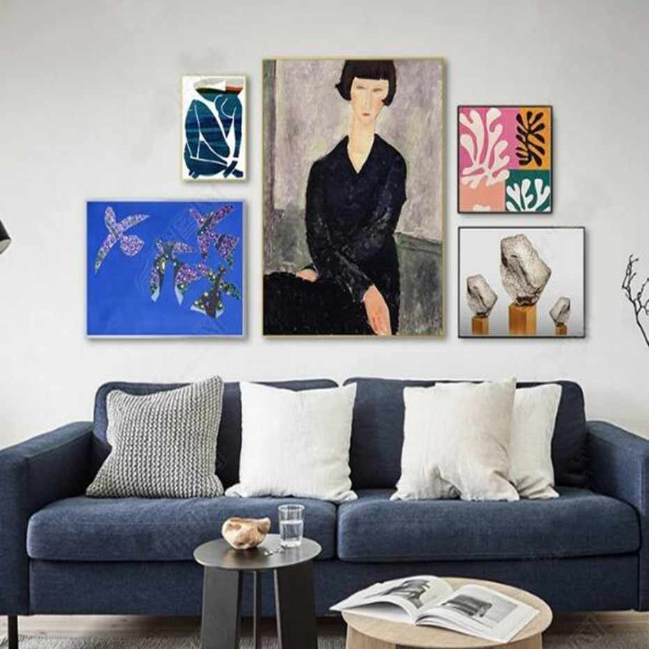 SURE LIFE Vintage Abstract Figure Canvas Paintings Nordic Poster and Printing Pop Wall Art Pictures for Living room Home Decor