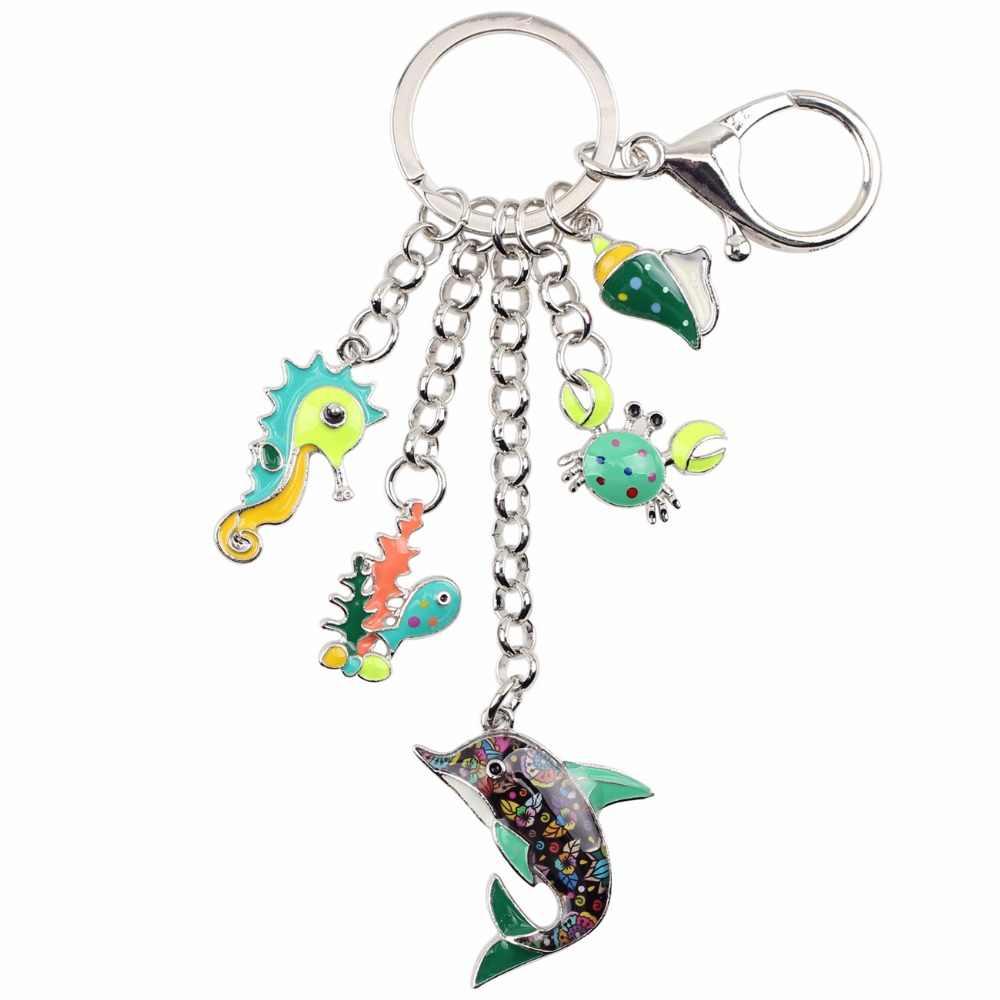 Bonsny Occean животное Дельфин Краб гиппокампи сплав брелок кольцо подарок для женщин девушка сумка Шарм брелок Шарм ювелирные изделия