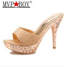Mvp Boy Hot Summer 2018 Sexy Open Toe High Heeled Slippers Women Platform Slides  Flip Flops Flowers Wedges Shoes Eu Size 34-39