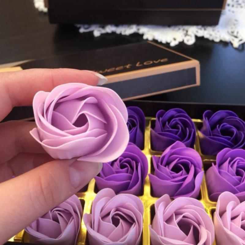 18 Pcs Simulation Rose Soap With Gift Box Valentine's Day Birthday Wedding Gifts Women Girl Bath Facial Soap Red Purple Blue